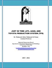 JUST IN TIME (JIT), LEAN, AND TOYOTA PRODUCTION SYSTEM (TPS) - Dr. Mahmoud Al-Naimi.pdf