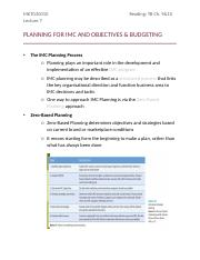 Lecture 7 - PLANNING FOR IMC AND OBJECTIVES