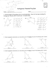 MBF3C Pythagorean Thrm and Trig Quiz with solutions