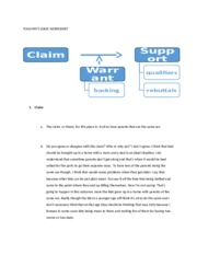 TOULMIN - TOULMINS LOGIC WORKSHEET 1 Claim The claim or thesis for ...