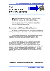 3.0 SOCIAL AND ETHICAL ISSUES