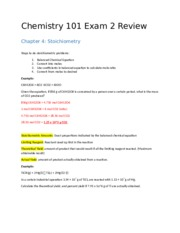 Chemistry 101 Exam 2 Review
