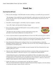 Food Inc Worksheet   Module 3 RR Gene Assessment in ...