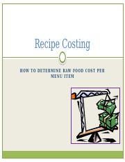 Recipe Costing for HT 1