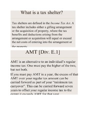 Tax shelter notes