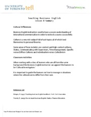 Teaching Business English - Lesson 8 Summary