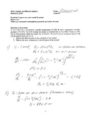 Exam 1 2014 Solution on Rockets and Mission Analysis