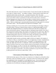 Critical analysis of Cultural Violence by JOHAN GALTUNG.docx