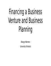 Financing a Business Venture and Business Planning.pptx
