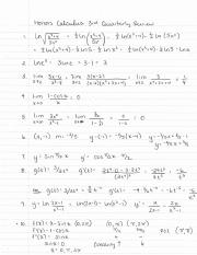 Honors Calculus 3rd Quarter Review Answers