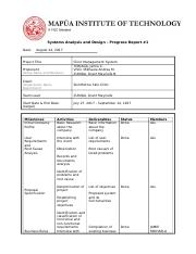 Activity  - Systems Analysis and Design Progress Report.doc