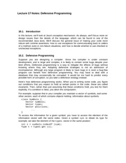 Lecture 17 Notes Defensive Programming