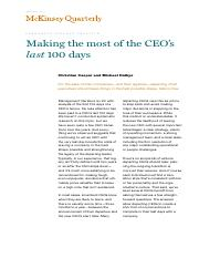 Making the most of the CEO's last 100 days