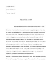 POVERTY IN EGYPT essay