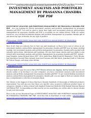 Investment Analysis And Portfolio Management Prasanna Chandra Pdf
