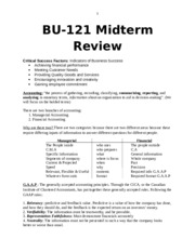BU121 Midterm Exam Review (V1)