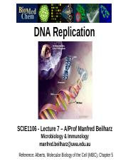 SCIE1106 Lec 7 DNA replication 2014