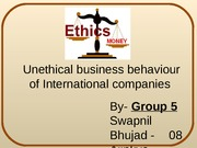 Unethical business behaviour of International companies _ Group 5