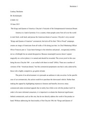 Final Draft Paper: Kings and Queens of America Commercial