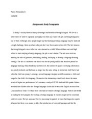Assignment- Body Paragraphs