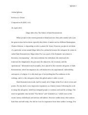 Nathaniel Hawthorne and Edgar Allen Poe   Comp.II Research