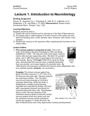 Introduction to Neurobiology - Lecture Notes 01 - Introduction