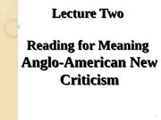 literary criticism 7 lecture two