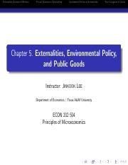 Externalities, Environmental policy & public goods Chapter5