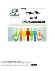 equality and Discrimination.docx