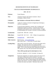 Calculus for Engineering Technology 2 Syllabus