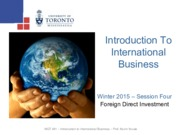 MGT 491 - Foreign Direct Investment - Winter 2015