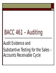 Lecture 15 Audit Evidence and the Sales and Accounts Recevable Cycle.ppt