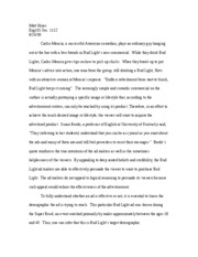 Engl101, Rhetorical Analysis of an Ad
