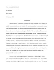 Essay on Spencer's Epithalamion