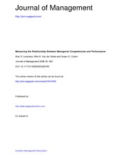 JOM 2006 Levenson Van der Stede and Cohen Relationship Managerial competencies and Performance