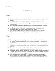 Critical thinking chapter 5-8 assignment