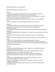 Globalization Midterm 1 Prep Questions Fall 2015