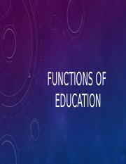 Functions ofeducation