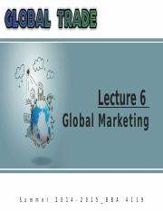 Summer '15_Global Trade_Lecture 6_Part 1