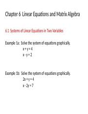 Chapter 6 Linear Algebra