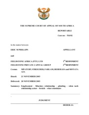 Phillips v Fieldstone Africa