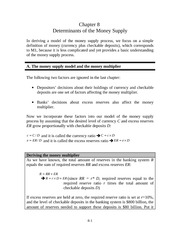 Chapter 8 - Determinants of the Money Supply