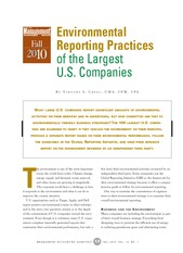 Environmental Reporting Practices of the Largest US Companies