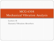 Lecture 18 Dynamic Vibration Absorbers 1 for Mechanical vibration analysis