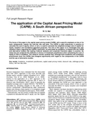 The application of the Capital Asset Pricing Model
