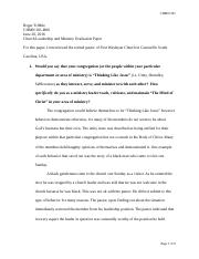 Church Leadership and Ministry Evaluation Paper.docx