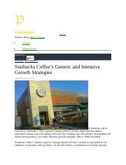 Starbucks coffee generic and intensive growth strategies