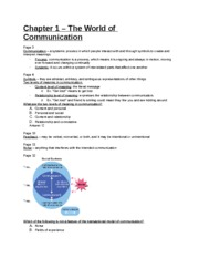 Study Guide - Chapter 1 - The World of Communication