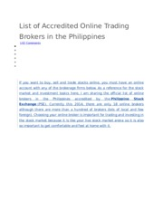 List of Accredited Online Trading Brokers in the Philippines