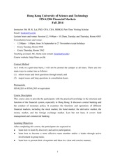 FINA3304 Financial Markets Course Outline Fall 2014